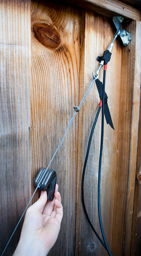 eBowing a tensioned cable on a fence gate. I mean, doesn't everyone spend their Sundays doing this?