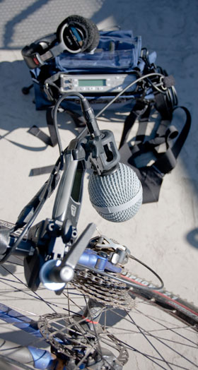 This bicycle mounting held pretty well on relatively gentle roads, and took 3 minutes to rig.