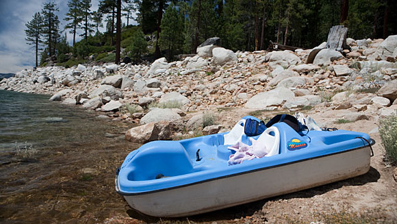 I'm pretty sure this paddleboat was not intended for wilderness exploration.