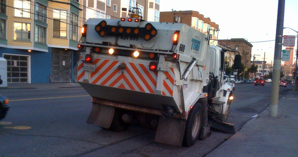 Street sweeper on South Van Ness, San Francisco.