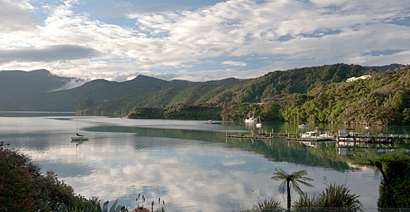 Portage Bay on the Queen Charlotte Sound, South Island, New Zealand.