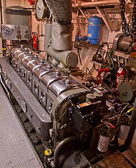 The MV Uchuck III engine room, starboard engine.