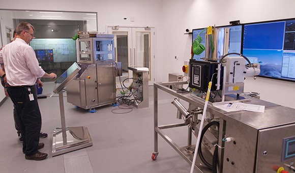 "This prototype ""factory of the future"" had to have its sound design elevated over the sounds of compressors and feeders to ensure zero defects. [GlaxoSmithKline, London, England]"
